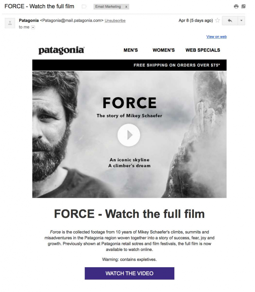 Force film by patagonia